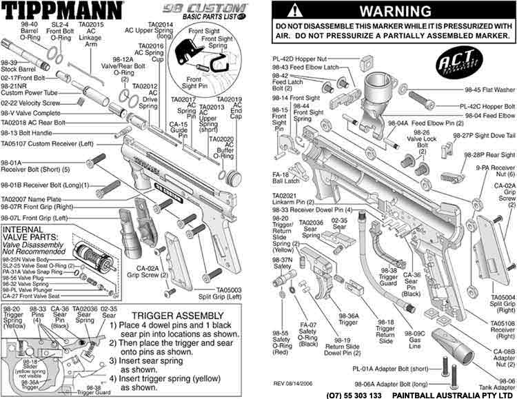 tippmann schematics rh paintballaustralia com au tippmann 98 custom internal diagram tippmann 98 custom pro diagram